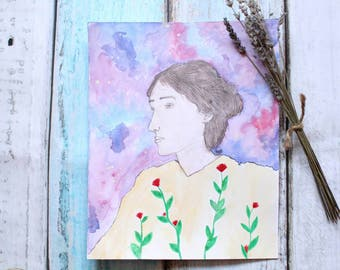 Original watercolor Virginia Woolf