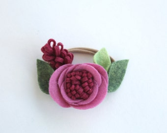 RASPBERRY// single flower headband// felt flower