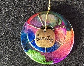 Upcycled Hand Stained Alcohol Ink Stacked Washer Pendant Necklace WIth Family Charm-Gifts For Her-Made in Canada