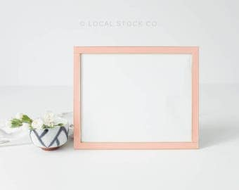 Pink Coral Peach Salmon Photo Horizontal Frame Mockup with Flowers, Stock Photography | Instagram Styled Stock Photography, Minimal stock