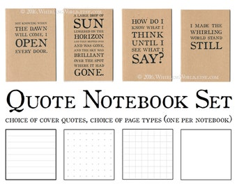 Bookish Gift for Writer | Literary Quote Notebook Set | A6 Kraft Cahier Journal Gift Set | Pocket Dori Inserts, Choice of Quotations & Pages