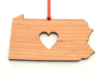Heart Pennsylvania Christmas Ornament - PA State Shape Ornament with Christmas Heart Cutout - Pennsylvania Ornament by Heart State Shop