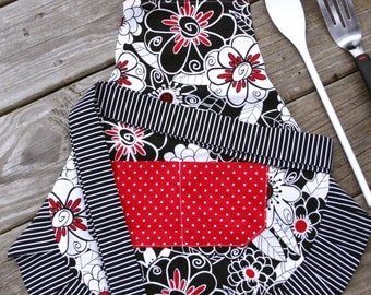 Girls Apron - Red and BlackFun Flowers