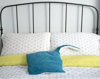 Stingray plush stuffed sea creature toy cushion handmade from reclaimed vintage fabrics. One-off piece.