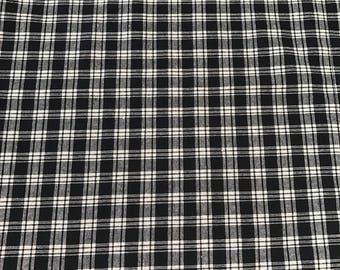 Primitive black amd tan check homespun Fabric By the Yard, Half Yard, or 1/4 yard