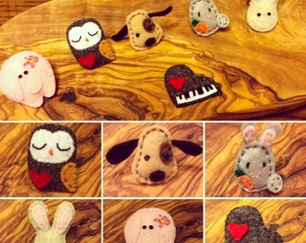 Miniature felt brooches/pins