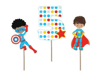 Cupcake Topper, Superhero cupcake toppers, superhero party, superhero birthday, superhero decorations, 5th birthday, party supplies