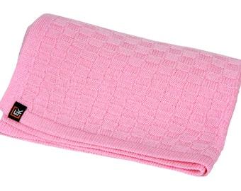 100% Superfine Merino Baby Blanket (Rose)