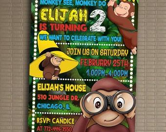 Curious George Invitation, You Print Invitation, Curious George Birthday, Curious George Birthday Party Invitation, Curious George Invite