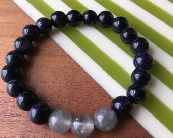 Blue gravel / Quartz Crystal Bracelet, Quartz Jewelry
