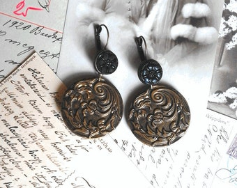 Earrings Victorian and Art Nouveau carved Jet and metal bronze plant scrollwork patterns