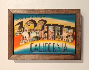 Los Angeles Postcard Wooden Sign