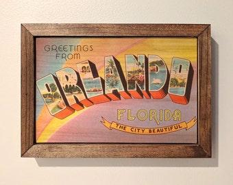 Orlando Postcard Wooden Sign