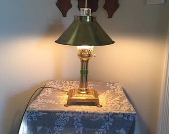 Pair of Vintage Paris Istanbul Orient Express Brass Table Lamp With Lion Feet Base