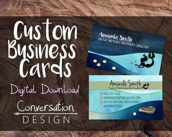 Mermaid, Business Card, Pearls, Under the sea, Ocean, Beach, Water