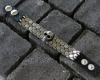 Leather Skull Bracelet, black Skull Bracelet, Oxidized Silver Bracelet, Link Chain Bracelet, Black Leather And Silver, Skull Jewelry