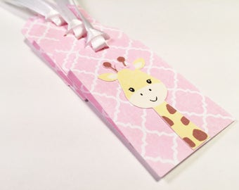 Giraffe Gift Tag with White Ribbon, Set of 5
