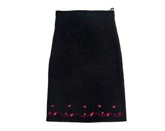 Vintage women skirt black floral flowers 100% lambswool elastic