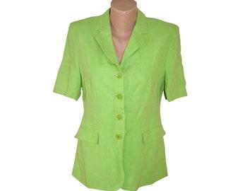 Vintage Flick women blazer jacket green lime 100% linen