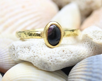 Natural Genuine Bicolor Tourmaline Handmade 925K Sterling Silver Ring 18K Gold Plated Over Silver