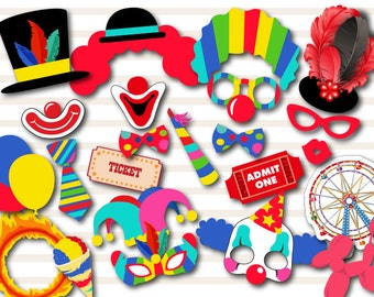 Printable Carnival Party Photo Booth Props, Circus Photo Booth Props, Instant Download Clown Photo Booth Props, Circus Birthday Props 0373