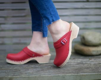 Swedish Clogs Classic Red Leather With Strap by Lotta from Stockholm / Wooden Clogs / Handmade / Mules / Low Heel Shoes / Scandinavian /