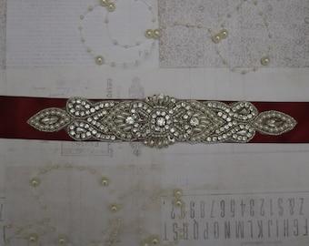 bridal sash, beaded bridal sash, rhinestone bridal sash, bridal belt, beaded bridal belt, wedding sashes, wine sash, burgundy sash