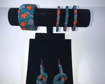 Ankara set earing 3little bracelet and 1big bracelet