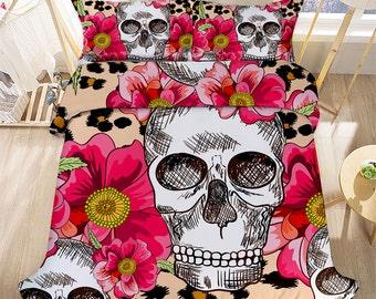 4 Pcs Skull Pattern Bedding Set Full Duvet Cover Bed Sheet 2 Match Pillow Case