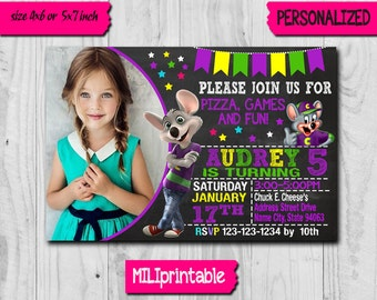 Chuck E Cheese Invitation / Chuck E Cheese Birthday Invitation / Chuck E Cheese Party / Chuck E Chesee Birthday / Chuck E Chesee Invite