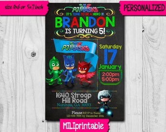 Pj Mask Invitation / Pj Mask Birthday Invitation / Disney Pj Mask / Pj mask Invite / Pj Mask Birthday / Pj Mask Party / Pj Mask Card SS