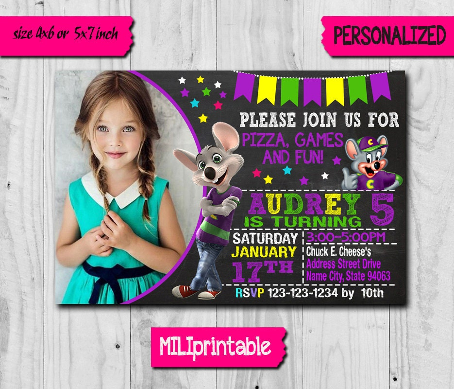 chuck e cheese invitation / chuck e cheese birthday invitation, Birthday invitations