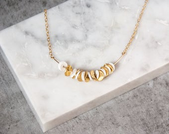 Short gold necklace, Gold disk necklace, Disc necklace, Simple necklace gold, Dainty gold necklace, Thin bead gold necklace. Gift for her