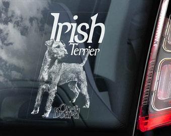 Irish Terrier on Board  - Car Window Sticker - Dog Sign Decal  -V01