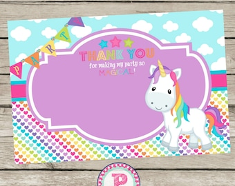 Unicorn Birthday Party Thank You Cards Notes Tags Purple Pink  Rainbows Hearts Clouds Banner Tags