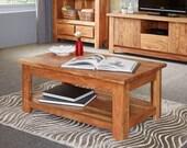 Metro light wood rustic look wooden coffee table  Chunky design  Acacia