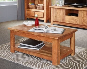 Metro light wood rustic look wooden coffee table - Chunky design - Acacia