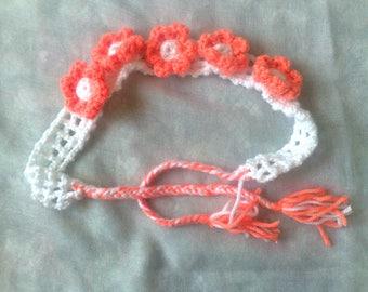 Sale headband with orange flowers-birthdays baby headband white headband flower flowers hair accessories white crochet children