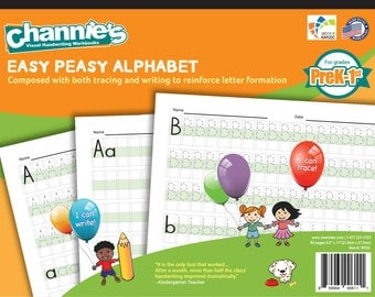 New way to learn alphabet! Channie's easy peasy alphabet handwriting workbook combine both tracing and writing. 8.5 x 11""