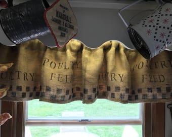 Burlap Curtains/Handmade/Burlap Valance/ Faux Feed Sack Curtains/Primitive Valance/ Farmhouse Curtain
