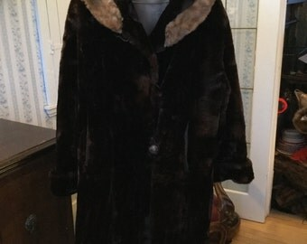 SUMMER SALE! Elegant rich brown vintage women's mouton coat with mink collar (A151)