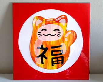 Lucky Cat! : mounted screen print