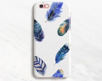 Blue Feathers iPhone 7 Case Bird iPhone 6 Plus Case Nature iPhone 6 Case White iPhone 5s Case iPhone SE Case Samsung Galaxy S7 S6 S5 S4