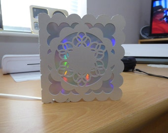 scalloped square with scalloped circle cut out card