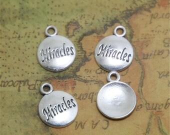 30pcs Miracles Charms Silver Tone Miracles Charm pendants 15 x 12mm ASD0496