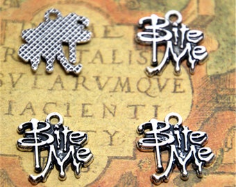 12pcs bite me Charms  Silver Plated bite me Charm pendant 17x17mm ASD2242