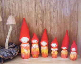 Little Family of Six Wooden Peg Dolls Waldorf craft