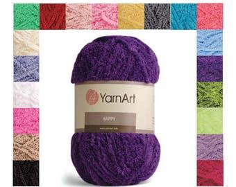 Happy YARN ART -  100% Polyester yarn- 100g 175m (191  yards) turkish yarn