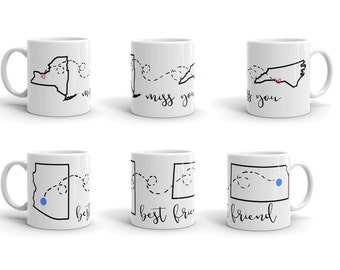 Miss You Mug; Long Distance Friends; Thinking of You Gift; Personalized Mug; Custom and Hand Drawn Mug