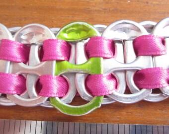Pop Tab Bracelet with pink polyester ribbon